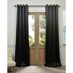 Exclusive Fabrics Jet Black Grommet Thermal Blackout Curtain Panel Pair (120-inch), Size 50 x 120 (Polyester, Solid)