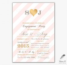Hey, I found this really awesome Etsy listing at https://www.etsy.com/listing/211585466/pink-gold-engagement-party-invitations