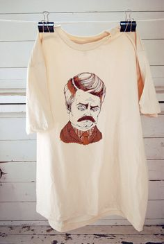 Ron Swanson screen printed t shirt in creme men's by KRUSTYstuff, $23.00