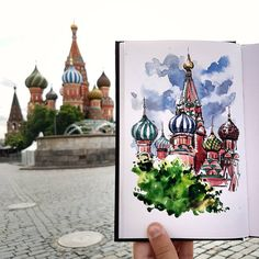 "1,502 Likes, 22 Comments - Alicia Aradilla (@a.aradilla) on Instagram: ""Saint Basil's Cathedral. Full of colors in contrast to our cloudy day. #moscow #moscú #urbansketch…"""