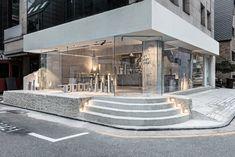 jeonghwa seo crafts brutalist concrete interior for etcetera cafe in seoul Coffee Shop Design, Cafe Design, House Design, Bar Furniture For Sale, Furniture Ideas, Seoul Cafe, Concrete Interiors, Outside Bars, Glass Facades