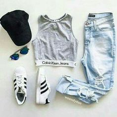 Outfits. Teen fashion. Calvin Klein sports bra. Adidas shoes. Layout my outfit. Boyfriend jeans. Cute outfit.
