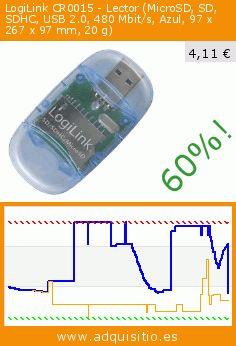 LogiLink CR0015 - Lector (MicroSD, SD, SDHC, USB 2.0, 480 Mbit/s, Azul, 97 x 267 x 97 mm, 20 g) (Accesorio). Baja 60%! Precio actual 4,11 €, el precio anterior fue de 10,24 €. https://www.adquisitio.es/logilink/cr0015-mmc-sd-sdhc-usb-20