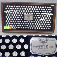 "History of the United States collection of 200 mini coins in sterling silver, Franklin Mint limited edition with presentation case and certificate; measures 10 x 17"". Bids close, Thurs, 10 Nov from 11am ET. http://bid.cannonsauctions.com/cgi-bin/mnlist.cgi?redbird80/1700"