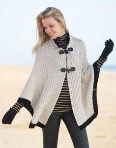 pattern knit crochet woman cape autumn winter katia 6791 25 g Crochet Cardigan Pattern, Crochet Shawl, Knit Crochet, Crochet Scarves, Crochet Clothes, Laine Katia, Poncho Shawl, Poncho Cape, Capes For Women