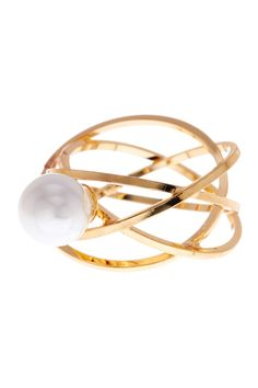 Simulated Pearl Geo Ring - Size 7 by Stephan & Co on