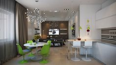 This vibrant apartment, use of lime green and white.  The Heracleum II LED Suspension