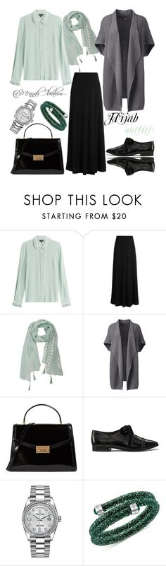 """#Hijab_outfits #modesty #Grey #Mint"" by mennah-ibrahim ❤ liked on Polyvore featuring Tara Jarmon, The Row, Lands' End, Tory Burch, Rolex, Swarovski and plus size clothing"