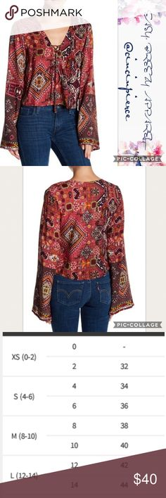 """RAGA ~ BONO BLOUSE Classic Boho pattern is the perfect new addition to your wardrobe. 🌻Lace up V neck 🌻 Long Sleeves 🌻 lenght 22"""" 🌻 100 Viscrose RAGA Tops Blouses"""