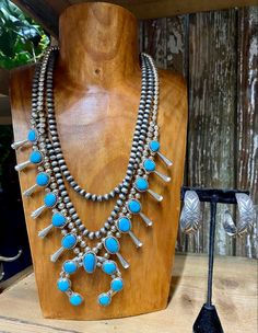 """Squash blossom 31"""" Length Naja 2.5"""" length 3"""" width Stamped Sterling & Signed J. Mariano Dragonfly Pendant, Squash Blossom, Green Turquoise, Cluster Ring, Leather Necklace, Strand Necklace, Native American Jewelry, Fashion Boutique, Nativity"""