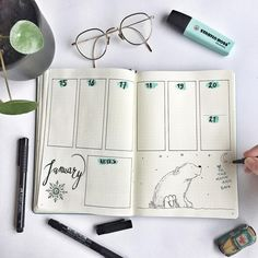 37 vind-ik-leuks, 10 reacties - Bulletjournal Lady  (@bulletjournal.lady) op Instagram: 'Hi mister polar bear! I notice I like to use different designs in my weeklyspreads. One week it's a…'