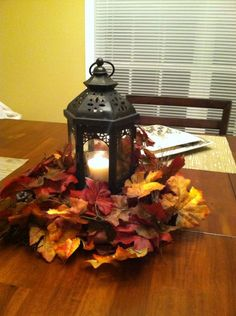 50  Vibrant and Fun Fall Wedding Centerpieces   Wedding Ideas     Easy DIY fall decor  Used Lantern from wedding as the center for this  centerpiece