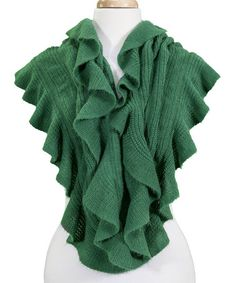 Look what I found on #zulily! Green Ruffle Infinity Scarf by Tickled Pink #zulilyfinds