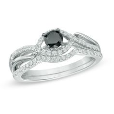 Zales: 1/2 CT. T.W. Enhanced Black and White Diamond Bypass Bridal Set in Sterling Silver