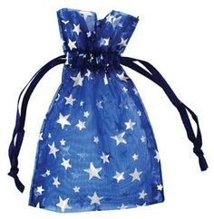 "2 3/4"" x 3"" Blue organza with Silver Stars"
