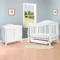 DaVinci 2 Piece Nursery Set   Parker Convertible Crib And 2 Door Changing  Table In White