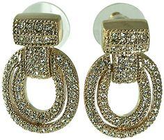 DESIGNER INSPIRED-14KT GOLD PLATE PAVE CRYSTAL-DOOR KNOCKER EARR