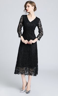 A-Line V Wire Tea Length Lace Prom Dress with Lace Insert by LAN TING Express 2019 - £ 66.81 Lace Tea Length Dress, Lace Dress, Lace Insert, Prom Dresses, Formal Dresses, Special Occasion Dresses, Dresses Online, Wire, Casual