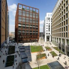 4 Pancras Square – A Sq ft modern office Development with Façades of glass and patinated steel – Rich in colour and rich in heritage. designed by Eric Parry Architects Architects Journal, St Thomas, Facade, Multi Story Building, London, Steel, Architecture, Glass, Modern