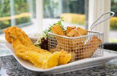 Tempura Cod, Hand Cut Fries and Homemade Tartare Sauce  Lunch time. Lunch idea. Bar food. Bar meal.