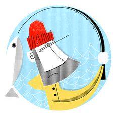 The fisherman by D E M (via Illustrated Gents) #fisherman #DEM #fish