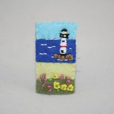 Embroidered Felt  Brooch - Summer Seaside stitched by Lynwoodcrafts