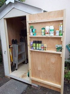 Shed Plans - 14 Breathtaking DIY Garden Sheds You Can Make Yourself - use the space on the door - Now You Can Build ANY Shed In A Weekend Even If You've Zero Woodworking Experience! shed design shed diy shed ideas shed organization shed plans Storage Shed Organization, Storage Shed Plans, Built In Storage, Garage Storage, Clever Storage Ideas, Tool Shed Organizing, Porch Storage, Storage Units, Smart Storage
