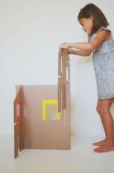 recycled cardboard dollhouse step by step