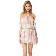 LOVESHACKFANCY Amira Silk Dress ($425) ❤ liked on Polyvore featuring dresses, mint, short-sleeve dresses, off shoulder dress, silk dress, pink short sleeve dress and mint dress