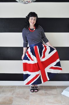 The only thing I want right now! Union Jack skirt  British Flag Skirt custom made by SandeeRoyalty