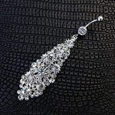 """2.75"""" Long Hollywood Glam Belly Ring with Clear White Swarovski Crystal Rhinestone Charm Dangle Navel Ring on Etsy, $20.00"""
