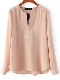 (Probably too short but otherwise love it!!) V Neck Long Sleeve Chiffon Apricot Blouse