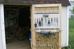Brilliant!  Wonder if DH could actually put stuff away if the pegboard is HERE rather than on the wall inside the shed???