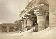 Façade of the Pronaos and the Temple of Edfou Painting by David Roberts, R.A - From Eygpt and Nubia, 1842.