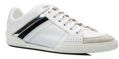 Christian Dior Men's Leather Suede Low Top Sneaker Shoes White Silver.