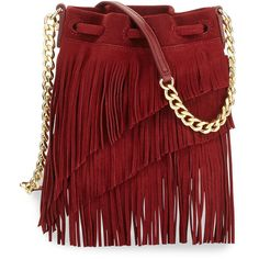 Elizabeth and James Suede Fringe Pouch Bag (22.740 RUB) ❤ liked on Polyvore featuring bags, handbags, red gala, drawstring handbags, red leather purse, red leather handbag, red purse ve leather purse