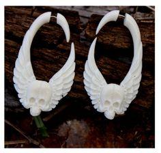 Fake Gauge Earrings Hand Craved Natural  Bone Split by ANELAJADE, $24.99