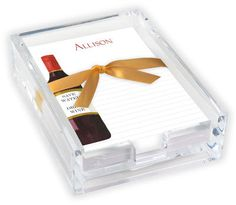 Red Wine Memo Sheets with Acrylic Holder