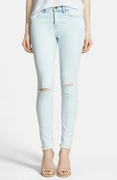 Treasure&Bond Ankle Skinny Jeans (Luxe Bleach Destroy) available at #Nordstrom