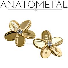 Threaded Plumeria Ends in solid 18k yellow gold with CZ gemstones