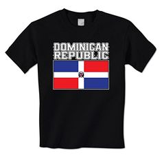 GILDAN man t shirt Bold Dominican Republic Flag Lettering -DR Central Latin American Mens T-Shirt
