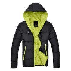 Doudoune Homme Parka Capuche Bicolore Urban jacket coat Fashion noir