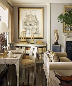 Dam Images Decor Nina Griscom Nina Griscom Apartment 04 Living Room The  Shagreen Desk And Chair Are By Garrison Rousseau; The Galleon Drawing Is  One Of ...
