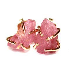 Raw Pink Tourmaline Stud Earrings Organic Earrings Pink Tourmaline Jewelry Free Form Earrings Tourmaline Prong Set Earrings Raw Gemstones by FizzCandy on Etsy