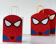 Spiderman party bags Superhero birthday decorations Spiderman goodie bags Super hero party supplies Boy girl first birthday party gift bags