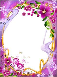 Fantasy pink and purple flower vine border PNG and Clipart Frame Border Design, Boarder Designs, Page Borders Design, Framed Wallpaper, Holiday Wallpaper, Frames Png, Picture Borders, Picture Frame, Printable Frames