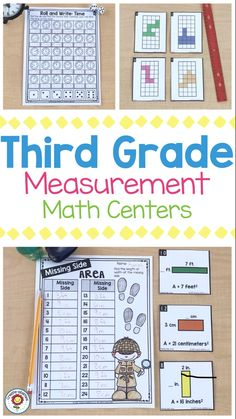 This pack is 290 pages of measurement, telling time, and graphing math centers for third grade. There are 25 hands-on games and center activities. Each print and go station is tailored to the needs of your third grade students and can easily be differentiated. Many of the centers have extension or variation activities written on the bottom as well. It also includes a version with Australian/UK spelling and metric-only measurements only. {3rd graders, activity, printables, area, perimeter} 3rd Grade Classroom, 3rd Grade Math, Third Grade, Grade 2, Classroom Ideas, Measurement Activities, Graphing Activities, Math Measurement, Activity Centers