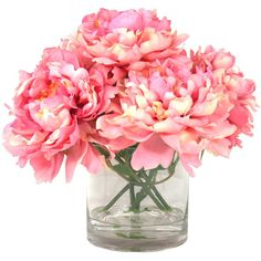 Creative Displays, Inc. Pink Peonies in Acrylic Water Vase ($86) ❤ liked on Polyvore featuring home, home decor, flowers, filler, decor, fiori, pink home decor and inc international concepts