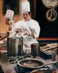 Home Decorators Hazelwood Mo Chefs, Food Illustrations, Illustration Art, Chef Pictures, Nostalgia Art, Cocinas Kitchen, Oil Painters, Figure Painting, Art Forms