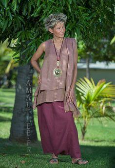 Rosewood linen gauze tunic with raspberry linen sarouel skirt -:- AMALTHEE -:- n° 3431